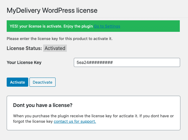 MyDelivery WordPress activate license